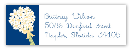 White Bouquet Address Label