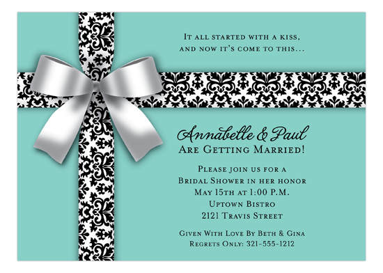 White Bow on Blue Invitation