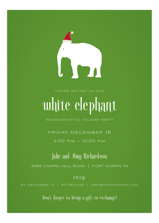 Green Background Santa Hat White Elephant Invitations