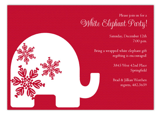 Red Background Trendy White Elephant Invitations – Elephant Party Invitations