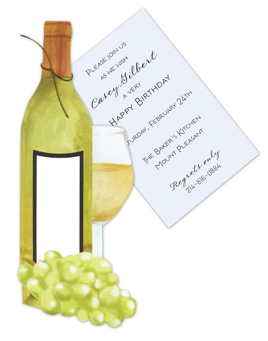White Wine With Grapes Invitation