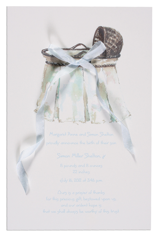 Wicker Bassinet Invitation with Blue Ribbon