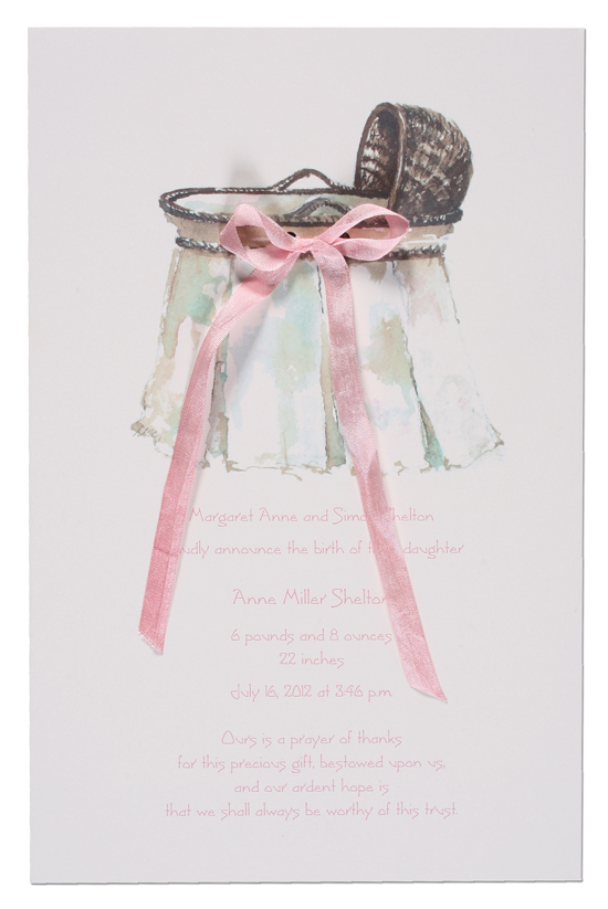 Wicker Bassinet Invitation with Pink Ribbon