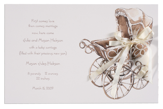 Wicker Pram Invitation Polka Dot Design