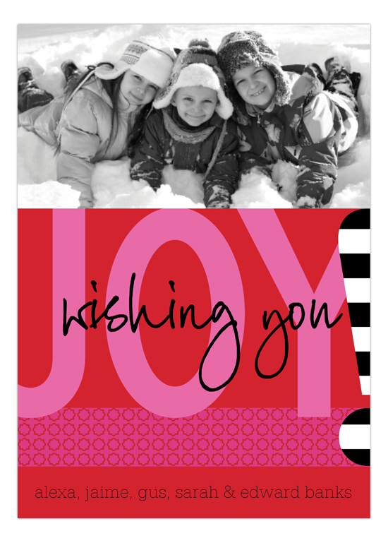 Wishing You Joy Red Photo Card
