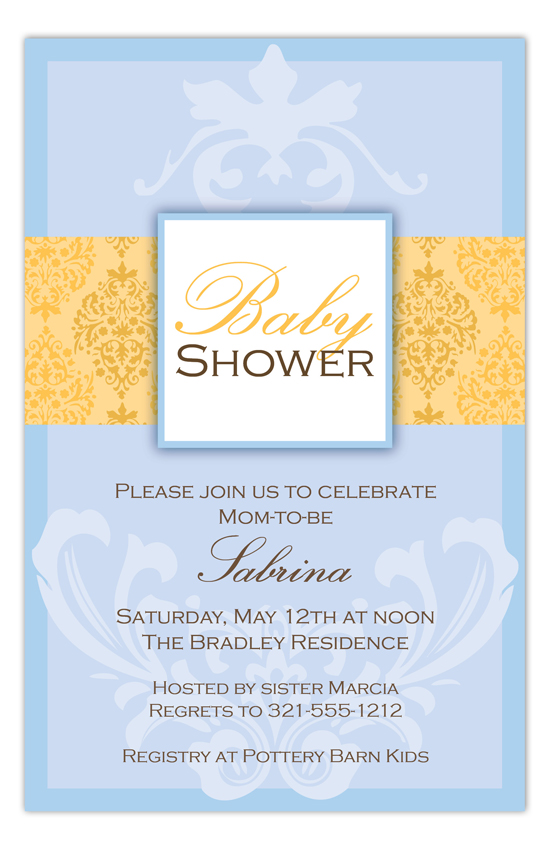 Yellow and Blue Damask Invitation