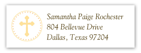 Yellow Cross Pendant Address Label