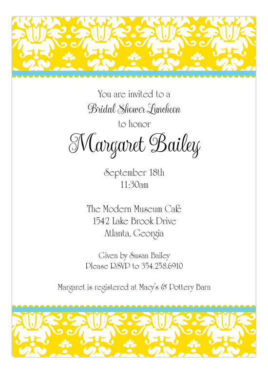 Yellow Damask Invitation