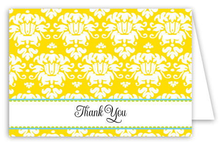 Yellow Damask Note Card