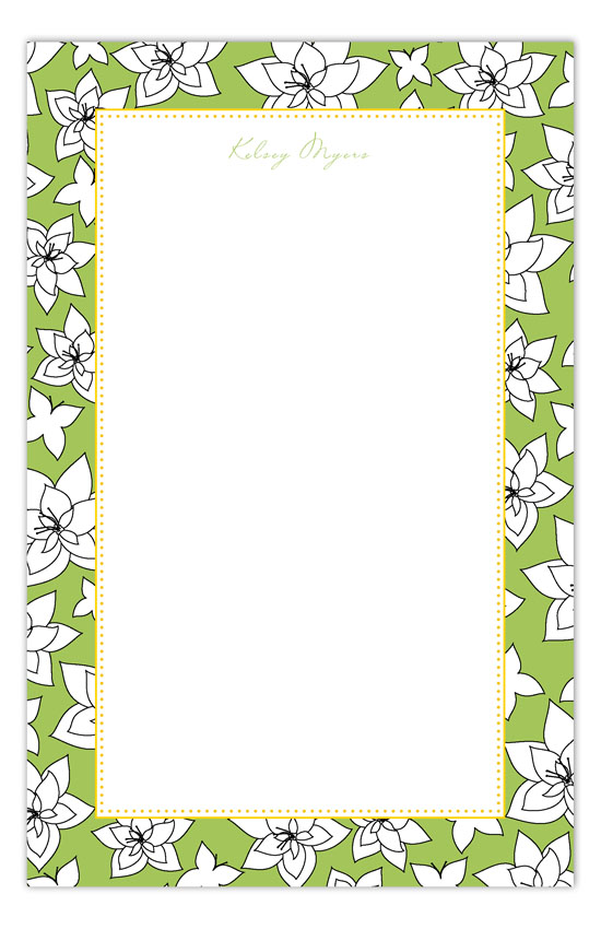 Yellow Flying Floral Notepad