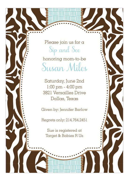 Zebra Blue Invitation