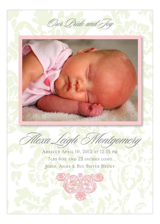 Precious Baby Zinnia Garden Pink Photo Card for Girls