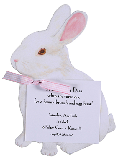 A Bunny Invitation with Pink Ribbon