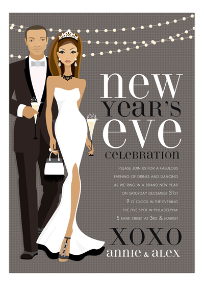 African American B+W New Year Couple Invitation