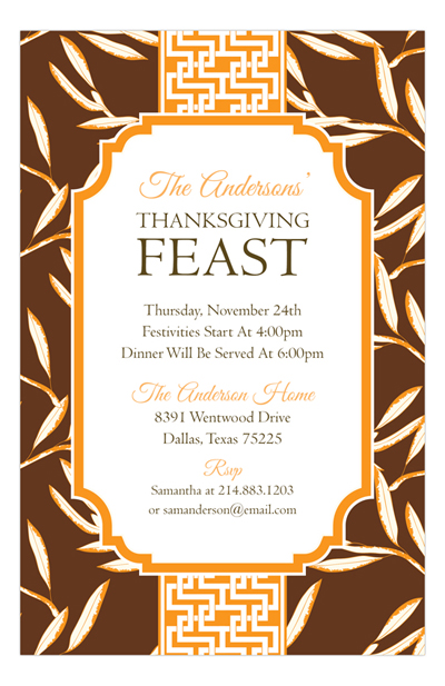 Fall and Thanksgiving Party Wording Ideas Polka Dot Design