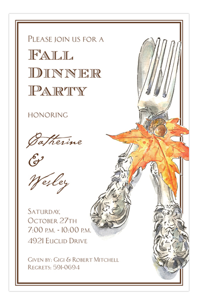 Fall and thanksgiving party wording ideas polka dot design autumn cutlery invitation filmwisefo