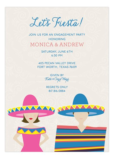Brunette Fiesta Couple Invitation
