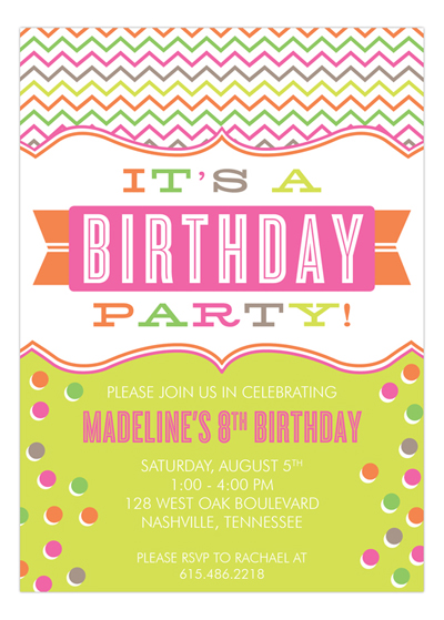 Kids Party Wording Ideas Polka Dot Design