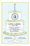 1st Birthday Cake Blue Invitation