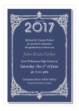 Antique Frame Blue College Graduation Announcements