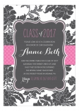 Hot Pink B&W Brocade Graduation Invitation