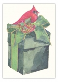 Red Bird Atop Green Box Christmas Card