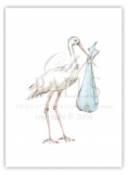 Stork Blue Folded Note Card