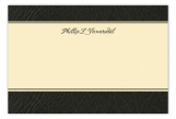 Black Leather Flat Note Card