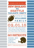 Silver and Blue Stripes Football Tailgate Party Invitation