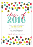Teal Confetti Glitter Grad Invitation