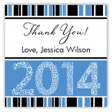 Blue Graduation Year Square Sticker