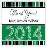 Green Graduation Year Square Sticker