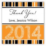 Orange Graduation Year Square Sticker