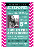 Pink Chevron and Teal Party Invitation