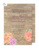 Wood Floral Wedding Suite Invitation