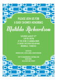 Adorable Diaper Pins Blue Baby Shower Invitation