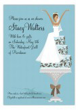 African American Blue Cake Bride Invitation