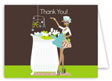 African American Blue Chic Crib Mom Thank You Card