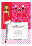 African American Pink + Red Brocade Girl Invitation