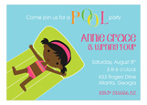 African American Swimming Girl Invitation