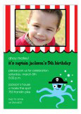 Octopus Ahoy Matey Pirate Invitations with Photo