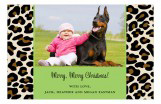 Animal Green Leopard Print Christmas Photo Card