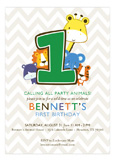 Animals Turning One Chevron Invitation