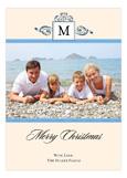 Antique Monogram Holiday Blue Photo Card
