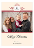 Antique Monogram Holiday Red Photo Card