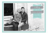 Aqua and Gray Banner Save the Date Photo Cards