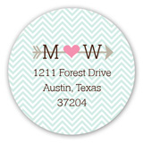 Aqua Chevron Heart and Arrow Round Sticker