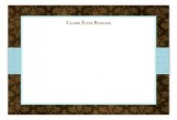 Aqua Damask Cloth Flat Note Card