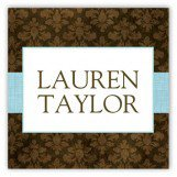 Aqua Damask Cloth Square Sticker