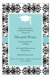 Aqua Damask Grad Invitation